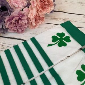 Accessories - Green & White Stripe Thigh High Over Knee Stocking